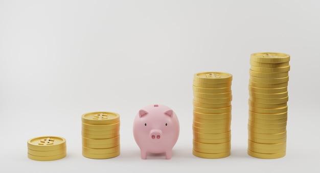 Rosa sparschwein und goldene münzen des wachsenden graphen. geld sparen und finanzplanungskonzept. 3d-rendering.