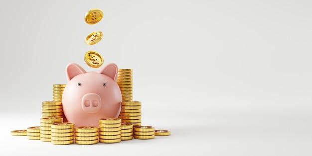 Rosa sparschwein und haufen von us-dollar-goldmünzen, die auf rosafarbenem hintergrund für geldspar- und einzahlungskonzept fallen, kreative ideen durch 3d-rendering-technik.