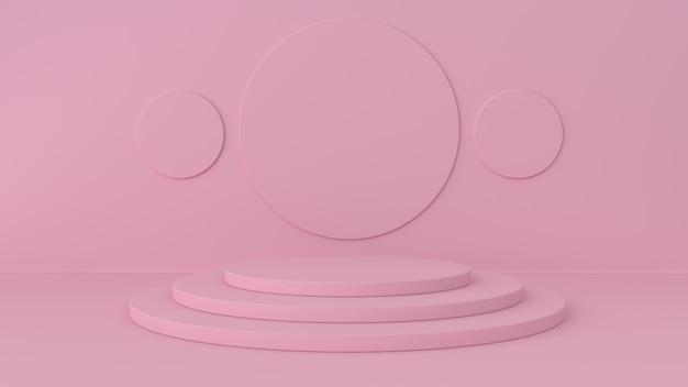 Rosa studio- und sockelhintergrund. plattform für die ausstellung von schönheitsprodukten.
