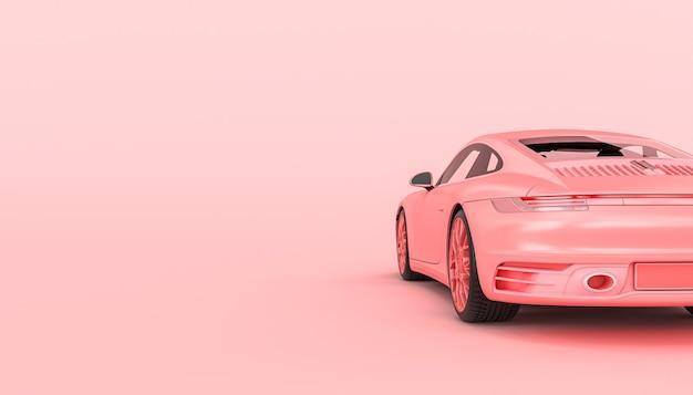 Rosa supersportwagen auf rosa hintergrund. rückansicht. 3d-rendering