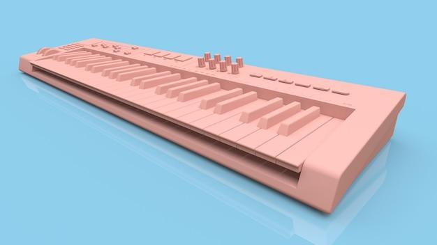 Rosa synthesizer-midi-keyboard auf blauer oberfläche