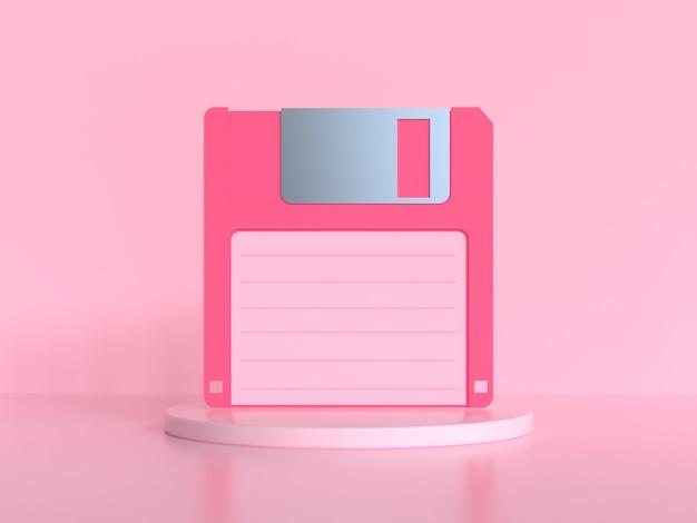 Rosa szene 3d, die alte diskette / diskette wiedergibt