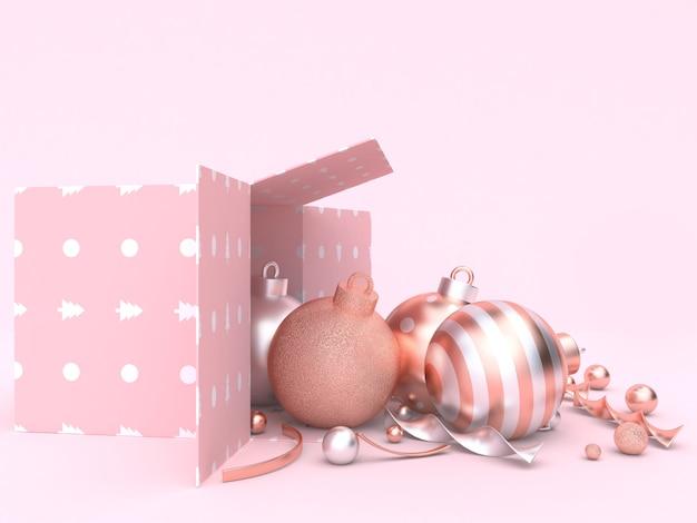 Rosa szenenweihnachtsdekorationskonzept-geschenkboxball