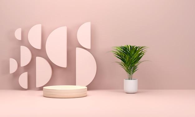 Rosa szenestudio mit podium und minimalem rosa bühnenbühnenhintergrund 3d-rendering