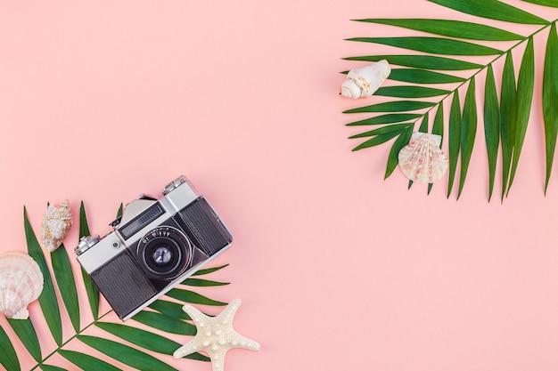 Rosa tisch der tropischen palmenblätterferien