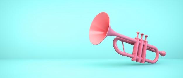 Rosa trompete auf blauem raum, 3d-darstellung