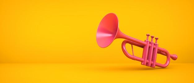 Rosa trompete auf gelbem raum, 3d-darstellung