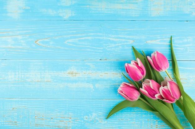Rosa tulpenblume auf blauem holztischhintergrund mit kopienraum für text.