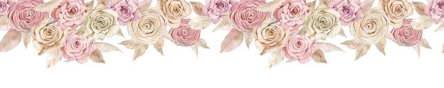 Rosa und cremige rosenfahne. nahtloser header mit schönen aquarellrosen.