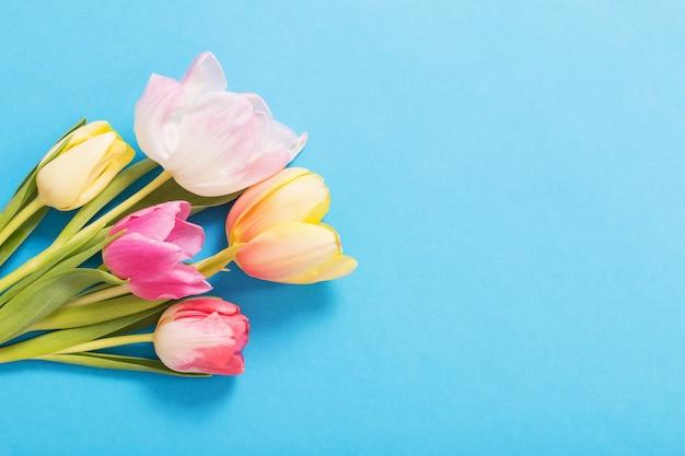 Rosa und gelber tulpenhintergrund