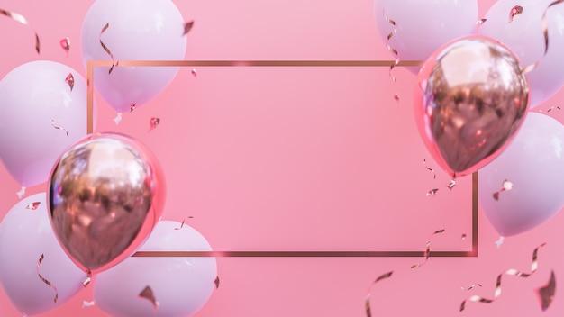 Rosa und goldene luftballons, die auf rosa pastellhintergrund schweben. geburtstagsfeier und neujahrskonzept. , 3d-modell und illustration.