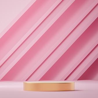 Rosa und goldener podest-bühnenständer für produktplatzierung 3d-rendering