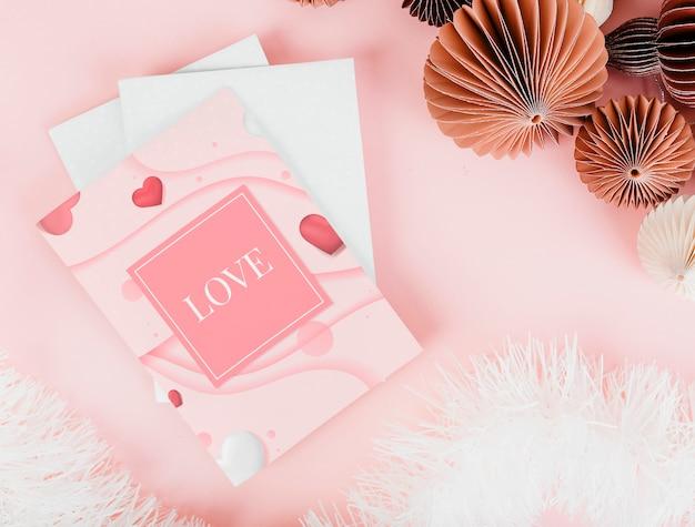 Rosa und romantische valentinskarten