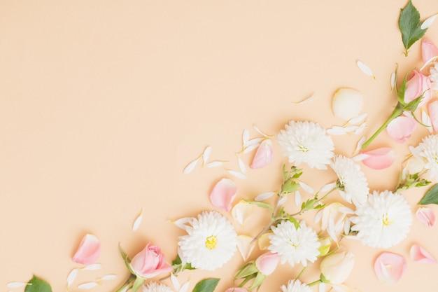 Rosa und weiße blumen auf papier