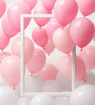Rosa und weiße luftballons mit rechteckigem rahmen