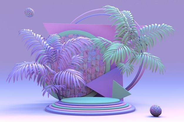 Rosa-violettes pastellpodium 3d-komposition von geometrischen objekten mit abstrakter tropischer grüner palme