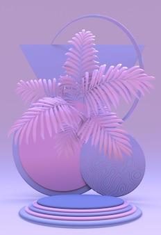 Rosa-violettes pastellpodium-werbunggeometrische objekte mit abstraktem tropischem palmblatt