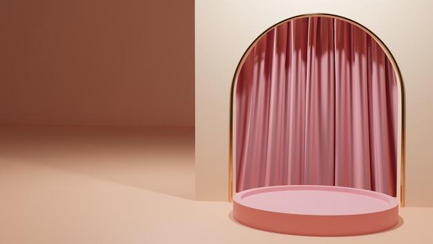 Rosa vorhang mit rosa podiumhintergrund