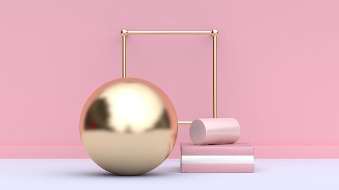 Rosa wandhintergrund 3d, der goldkugel überträgt