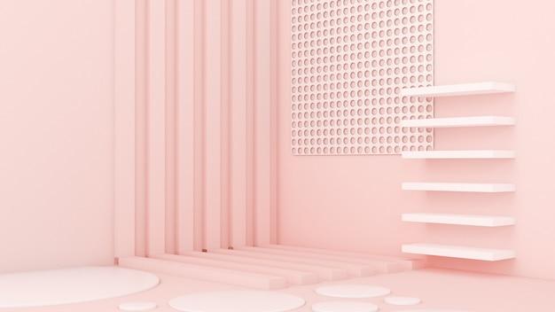 Rosa weißer heller hintergrund, studio und sockel. 3d-darstellung, 3d-rendering.