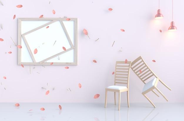Rosa-weißer raumhintergrund mit schlagrosablättern, niederlassung, lampe, stuhl.