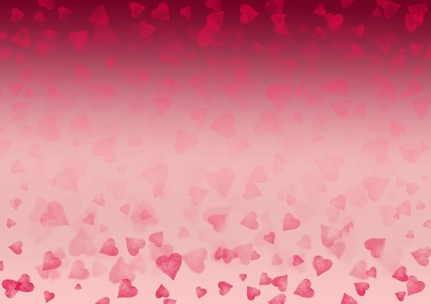 Rosa weißer roter valentinsgruß abstrakter festlicher horizontaler hintergrund der steigung. bokeh-effekt-muster-textur mit herzen. platz für text.