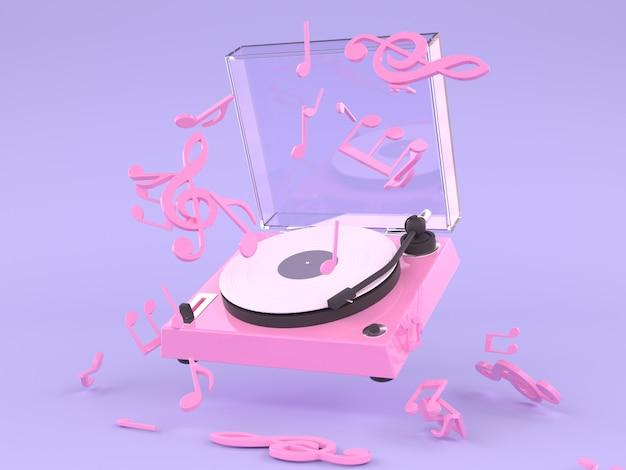 Rosa weißes vinylplattenmusikkonzept 3d, das purpurroten hintergrund überträgt