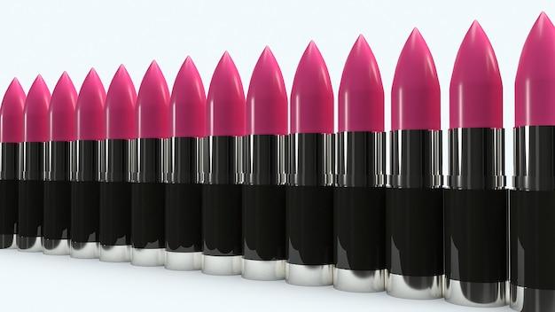 Rosa wiedergabe des lippenstifts 3d für kosmetik