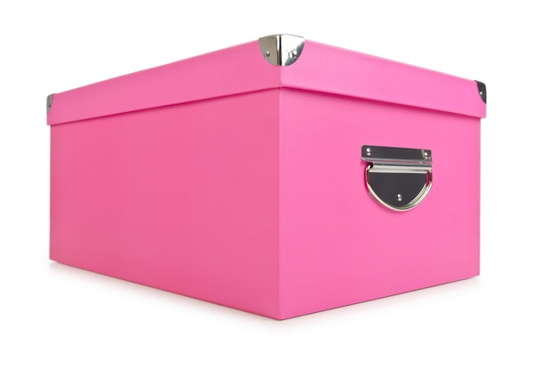 Rosafarbene giftboxes getrennt auf weiß
