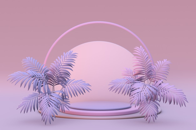 Rosafarbenes rundes pastellpodium für werbeaktionenkomposition geometrischer objekte mit abstrakter palme
