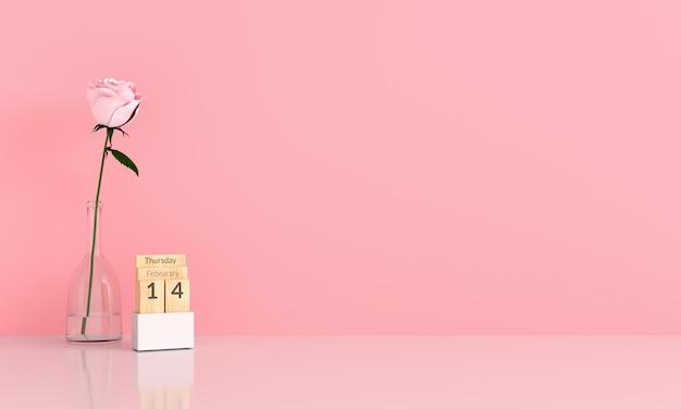 Rosarose im rosafarbenen raum für modell