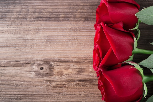 Rose mit drei rottönen auf holz