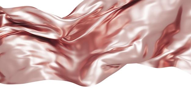 Roségold stoff isoliert auf weißem hintergrund 3d render