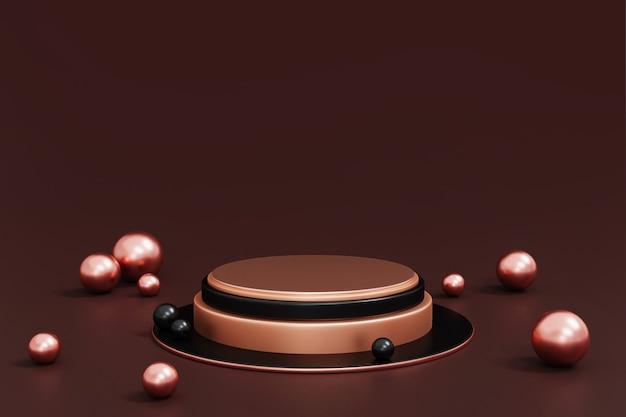 Roségold und schwarzes podium auf dunklem, abstraktem geometrischem zylinderpodest