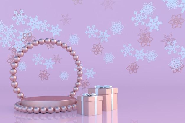 Roségoldene geschenkbox mit abstrakten schneeflocken mit schleife und podestständer auf pastellfarbenem hintergrund