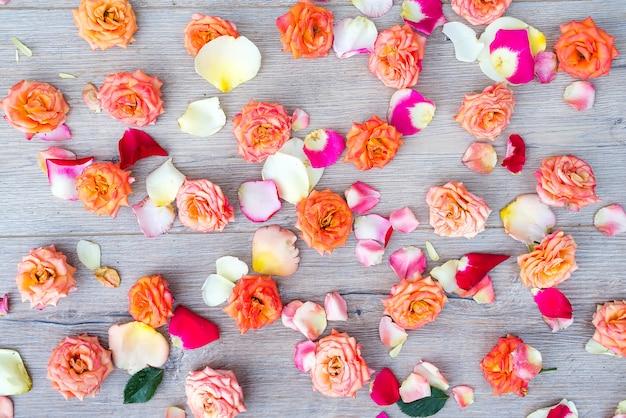 Rosen und blumenblätter hintergrund. rosen und blumenblätter zerstreuten auf hölzernen grauen hintergrund