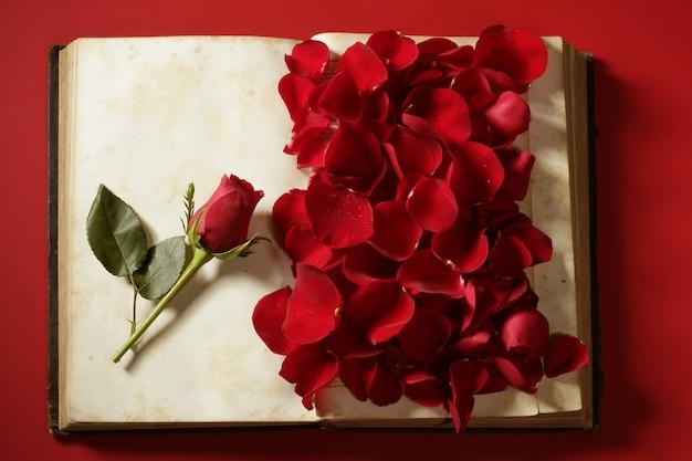Rosenblätter über altem gealtertem buch