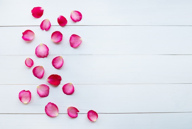 Rosenblumenblätter auf weißem hölzernem hintergrund.