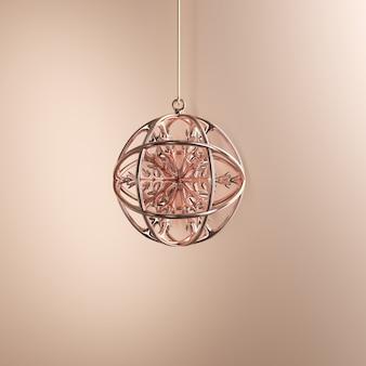 Rosengold verziert weihnachtsball auf goldenem hintergrund. minimale weihnachtskonzeptidee.