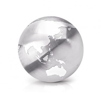 Rostfreie globus-3d-illustration asien & australien karte auf weiß