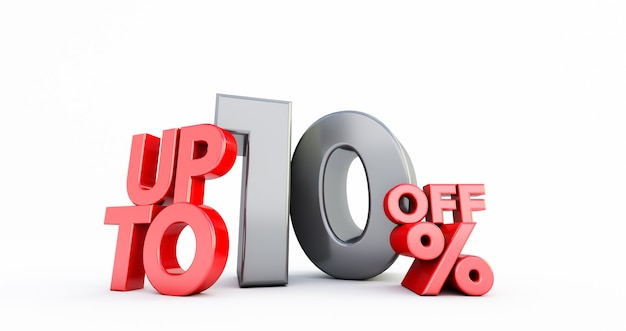 Rot 10% anzahl isoliert auf weiß .10 zehn prozent verkauf. schwarzer freitag idee. bis zu 10%.