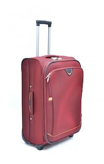 Rot des modernen großen koffers auf einem weiß