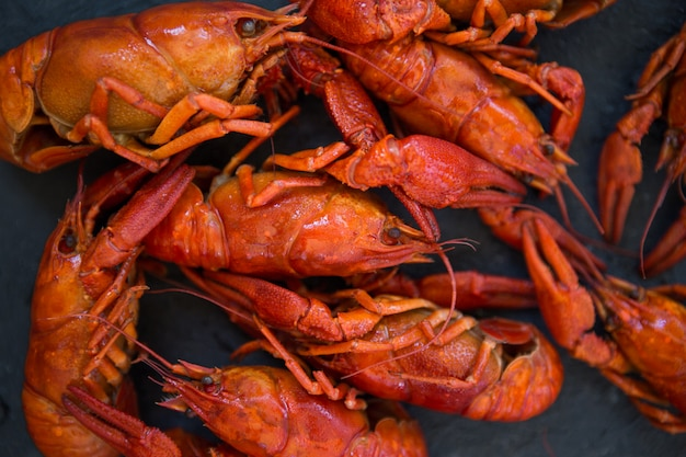 Rot gekochte panzerkrebse auf tabelle in der rustikalen art, nahaufnahme. hummer nahaufnahme.