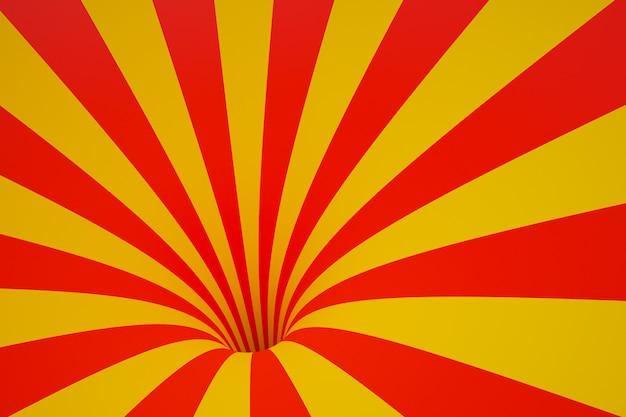 Rot-gelber trichter der 3d-illustration. gestreifter bunter abstrakter hintergrund.