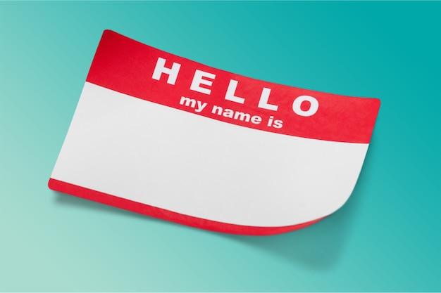 Rot hallo, mein name ist tag