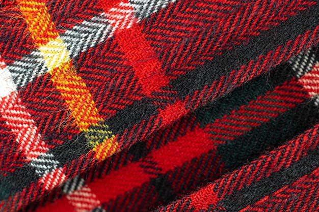 Rot kariertes muster, tartan hochauflösender texturhintergrund aus stoffgewebe und baumwollmaterial, nahaufnahmefoto