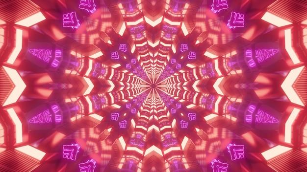 Rot leuchtender endloser neontunnel mit coolem farbeffekt 3d illustrationshintergrund