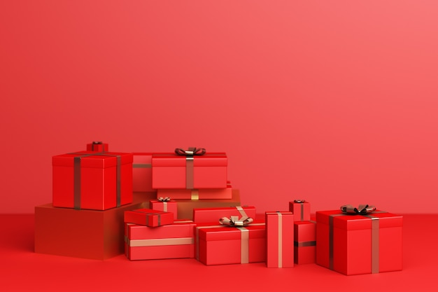 Rot viel geschenkbox auf rotem grund. 3d-rendering