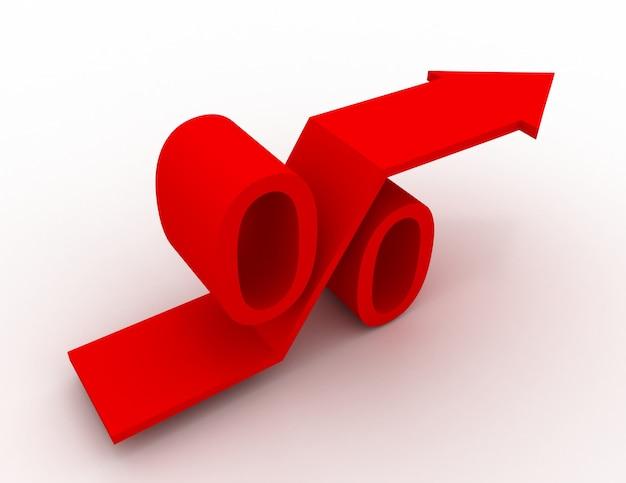Rot wachsendes prozentzeichen mit steigendem pfeil nach oben. 3d-render-illustration