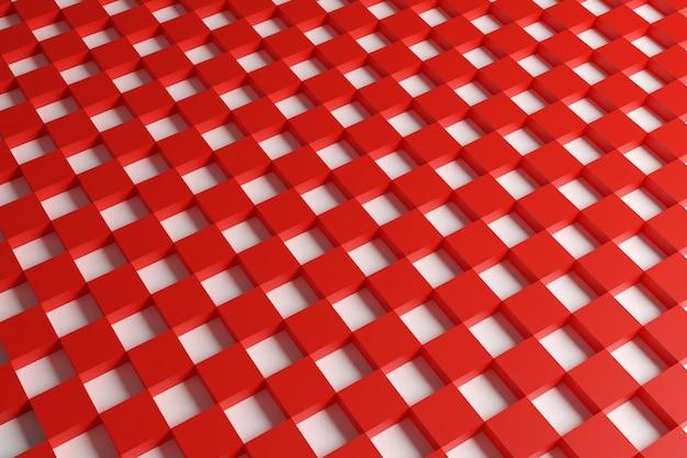 Rot-weiß kariertes geometrisches muster der 3d-illustration von pyramiden.